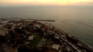 AT_039N Aerial helicopter footage of Tel Aviv: Old Jaffa facing west