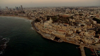 AT_040N Aerial helicopter footage of Tel Aviv: Old Jaffa, Tel Aviv