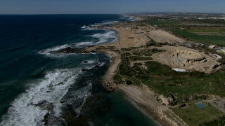 AT_045N Aerial helicopter footage of Central Israel: Caesarea Roman Theatre and coast line