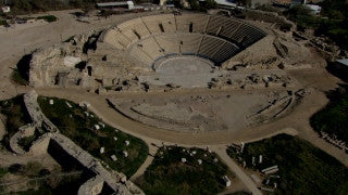 AT_046N Aerial helicopter footage of Central Israel: Caesarea Roman Theatre