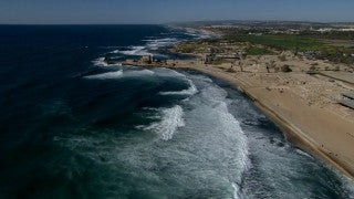 AT_048N Aerial helicopter footage of Central Israel: Caesarea archaeological site and Roman port