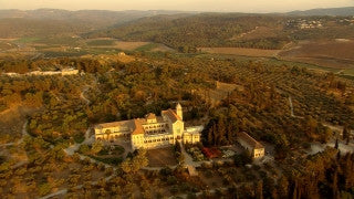 AT_050N Aerial helicopter footage of Central Israel: Latrun Trappists Monastery