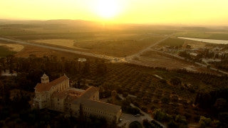 AT_051N Aerial helicopter footage of Central Israel: Latrun Trappists Monastery at sunset