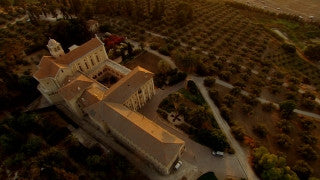 AT_053N Aerial helicopter footage of Central Israel: Latrun Trappists Monastery