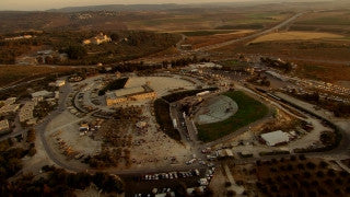 AT_055N Aerial helicopter footage of Central Israel: Latrun Trappists Monastery high altitude