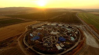 AT_056N Aerial helicopter footage of Central Israel: Latrun Mini-Israel Park