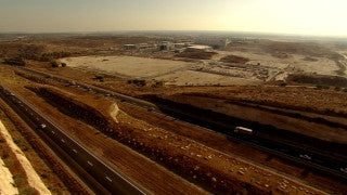 AT_062N Aerial helicopter footage of Central Israel: Route 6 highway traffic