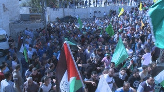 CJ_017 Jerusalem Conflict 2015: Palestinian funeral - protestors march with Coffin