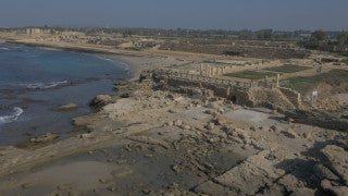 DC4K 003 G - 4K aerial drone footage approaching ancient Caesarea from the sea