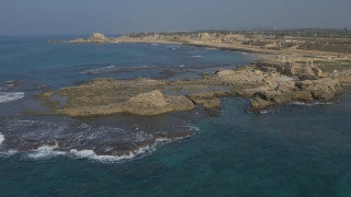 DC4K 012 G Aerial 4K drone footage of Caesarea Maritima flying over the underwater port of Caesarea (3)