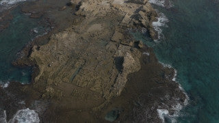 DC4K 013 G Aerial 4K drone footage of Caesarea Maritima and the underwater remains of the Roman port