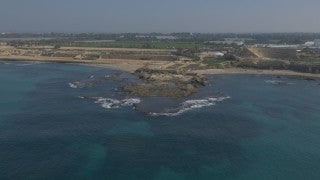 DC4K 014 G Aerial 4K drone footage of Caesarea - low altitude flight above the ancient Caesareaharbor