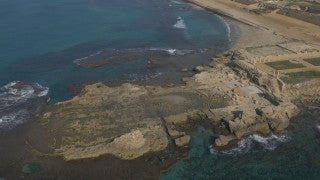 DC4K 018 G Aerial 4K drone footage of the ancient Caesarea Maritima city Roman harbor