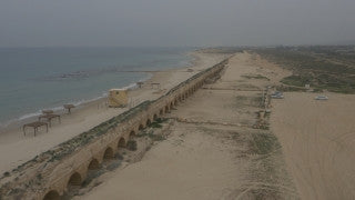 DC4K 025 G Aerial 4K drone footage of the Aqueduct in Caesarea - flight north to south