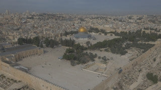 DJ4K_005_G Israel 4K Drone aerial footage Jerusalem: Fly up from Temple Mount corner