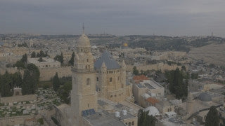 DJ4K_009_G 4K Drone Jerusalem: Fly past Sisters of Zion Monastery Mount Zion to Temple Mount