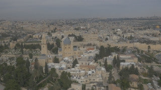 DJ4K_012_G Jerusalem 4K aerial drone footage: Fly back from Dormition Abbey to reveal Old City of Jerusalem