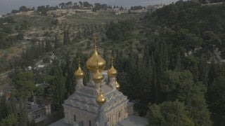 DJ4K_017_G 4K Drone Jerusalem: Fly in to Church of Mary Magdalene, Gethsemane
