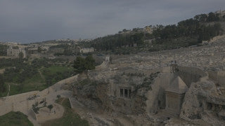 DJ4K_018_G 4K Drone Jerusalem: Mount of Olives Cemetery and Gethsemane Churches