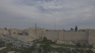 DJ4K_022_G 4K Drone Jerusalem: Fly back from Tower of David to see Old City of Jerusalem