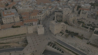 DJ4K_026_G 4K Drone Jerusalem: Fly back to reveal Old City of Jerusalem