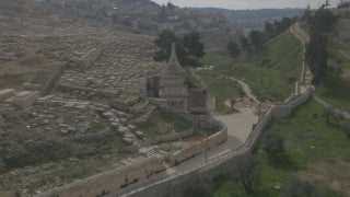 DJ4K_029_G 4K Drone Jerusalem: Tomb of Avshalom in Kidron Valley