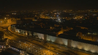 DJ4K_040_B 4K Drone Jerusalem: Fly back from Jerusalem city walls at night
