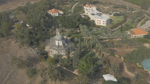 DN4K 002 G Israel stock footage: 4K drone aerial footage of Mount of Beatitudes, near Sea of Galilee