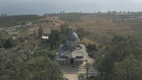 DN4K 001 G Israel stock footage: 4K drone aerial footage of Mount of Beatitudes, near Sea of Galilee
