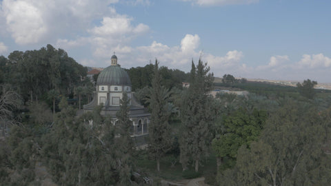 DN4K 003 G Israel stock footage: Low altitude 4K drone aerial footage of Mount Beatitudes