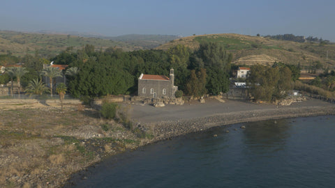 DN4K 006 G Israel stock footage: 4K drone aerial footage of Sea of Galilee near Tabgha from SW