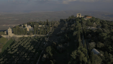 DN4K 010 G Israel stock footage: 4K drone aerial footage of Arbel cliff, slow climb of drone