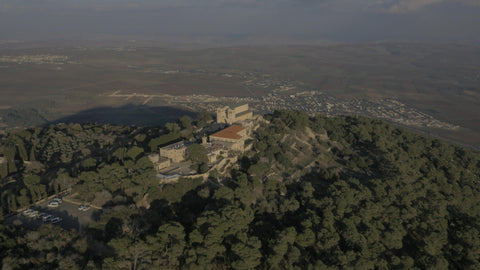 DN4K 012 G Israel stock footage: 4K drone aerial footage of Arbel cliff, slow climb of drone