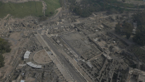 DN4K 018 G Israel stock footage: 4K drone aerial footage of Beit She'an archaeological park