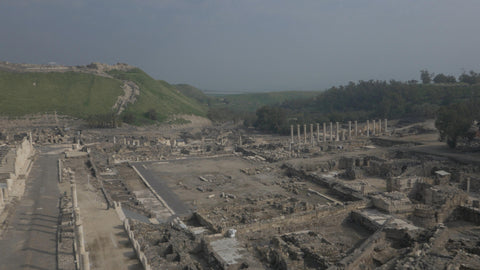 DN4K 019 G Israel stock footage: 4K drone aerial footage of Beit She'an archaeological park