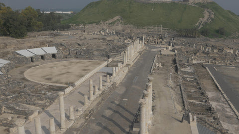 DN4K 022 G Israel stock footage: 4K drone aerial footage of Beit She'an archaeological park: Low alt