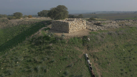 DN4K 024 G Israel stock footage: 4K drone aerial footage of Tel Hazor archaeological site: low alt