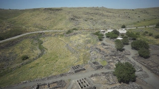 DN010B Aerial drone footage of the Sea of Galilee & Northern Israel: Korazim archeological site in Golan Heights