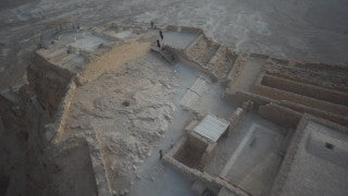 DS001B Aerial drone footage of Masada and the Dead Sea: Masada and Dead Sea filmed from side and above