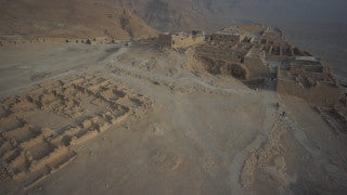 DS002B Aerial drone footage of Masada and the Dead Sea: Masada - top fly-by