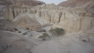 DS021B Aerial drone footage of Masada and the Dead Sea: Judean Desert - mountains and creeks