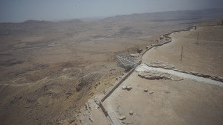 DS051B Aerial drone footage of South Israel and the Negev: steep cliffs and mountains in the Negev Desert