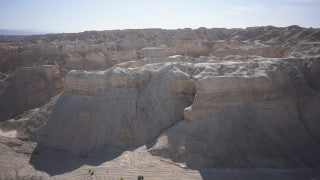 DS042B Aerial drone footage of Masada and the Dead Sea: flight toward Mt. Sodom, near the Dead sea
