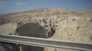 DS046B Aerial drone footage of Masada and the Dead Sea: Jordan Valley / Arava valley, south of the Dead Sea