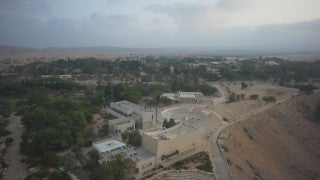 DS052B Aerial drone footage of South Israel and the Negev: Kibbutz Sde Boker in Negev Desert and David Ben Gurion tomb