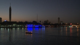 Egypt 030 Egypt Stock Footage: sailing in the Nile with Cairo skyline
