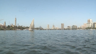 Egypt 028 Egypt Stock Footage: sailing in the Nile with Cairo skyline
