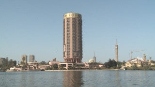 Egypt 029 Egypt Stock Footage: sailing in the Nile with Cairo skyline
