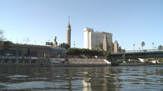 Egypt 031 Egypt Stock Footage: sailing in the Nile with Cairo skyline