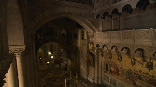 JC_006 - Christian sites in Jerusalem: Church of the Holy Sepulchre, high angle of church entrance from top level